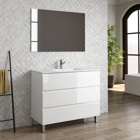 "DAX Costa vanity cabinet, 40"", glossy white with Onix basin (DAX-COS014011-ONX)"