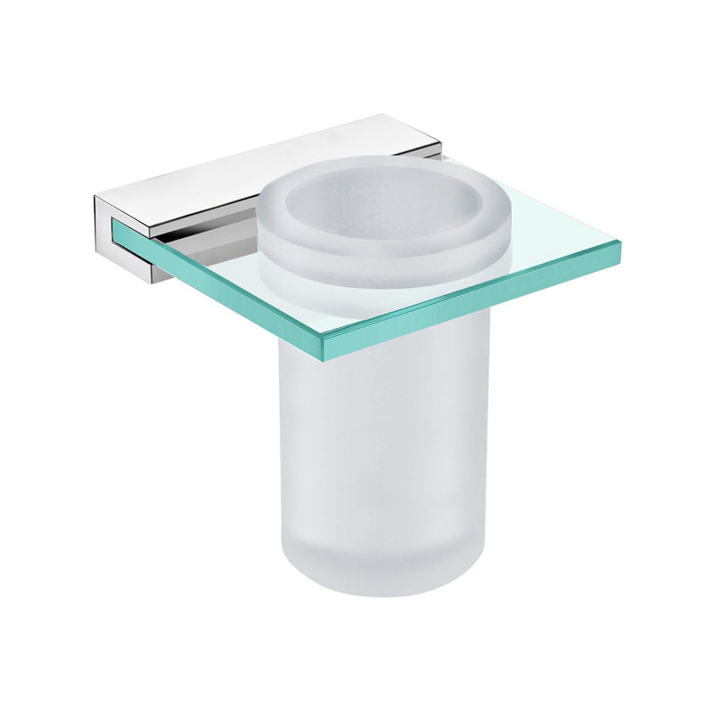 DAX Venice Bathroom Single Tumbler Toothbrush Holder, Wall Mount, Tempered Glass Cup with Clear Glass, Brushed Finish, 4-5/16 x 4-5/16 x 4-1/2 Inches (DAX-GDC060152-BN)