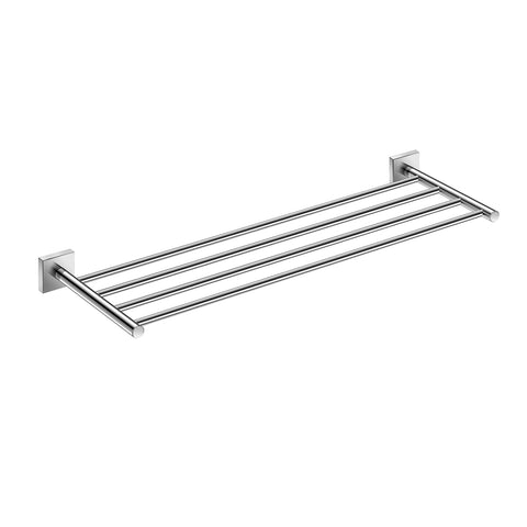 DAX Milano Towel Rack with Shelf, Wall Mount, Brass Body, Brushed Finish, 23-5/8 x 7-7/8 x 1-7/9 Inches (DAX-GDC160168-BN)