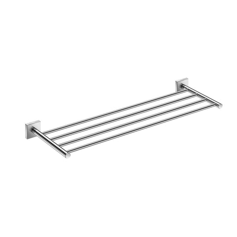 DAX Milano Towel Rack with Shelf, Wall Mount, Brass Body, Chrome Finish, 23-5/8 x 7-7/8 x 1-7/9 Inches (DAX-GDC160168-CR)