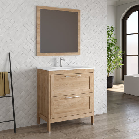 DAX Lakeside Single Vanity 32 Inches Oak with Onix Basin
