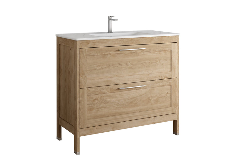 DAX Lakeside Single Vanity 40 Inches Oak with Onix Basin (DAX-LAKE014014-ONX)