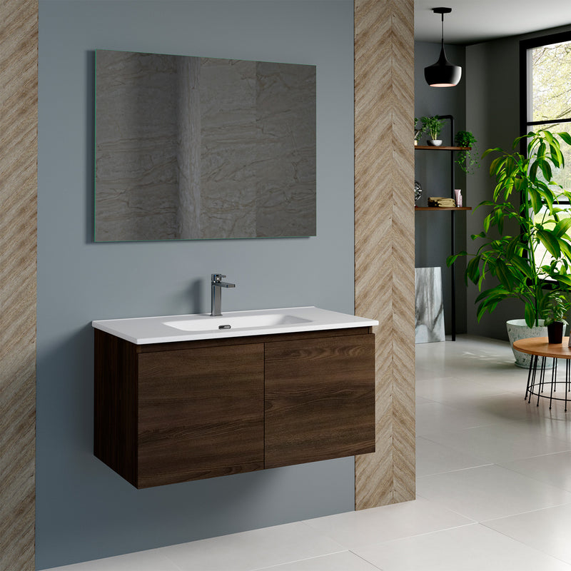 DAX Malibu Single Vanity Cabinet 36 Inches Wenge. Ceramic Basin Included (DAX-MAL013613-ONX)