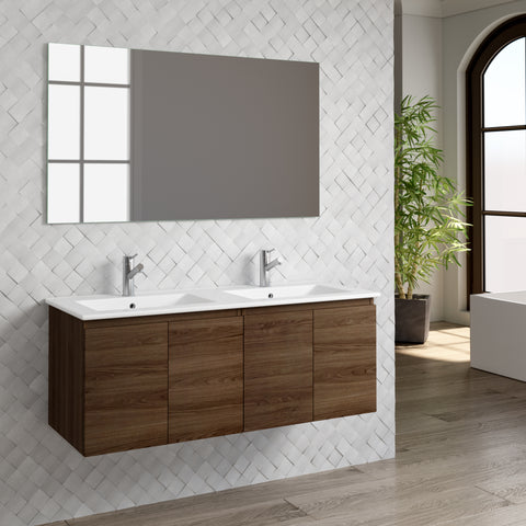 "DAX Malibu double vanity cabinet 48"", walnut with Onix basin (DAX-MAL014815-ONX)"