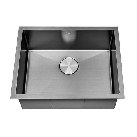 DAX Handmade Nanometre Single Bowl Undermount Kitchen Sink - Black Stainless Steel 304 - Accessories Included (DAX-NB2318-R10)