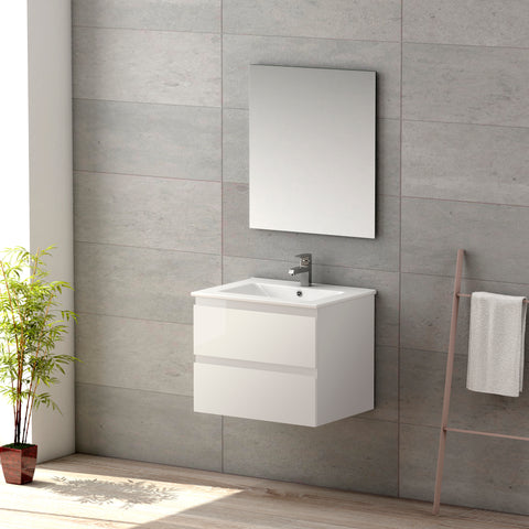 "DAX Pasadena vanity cabinet 24"", glossy white with Onix basin (DAX-PAS012411-ONX)"