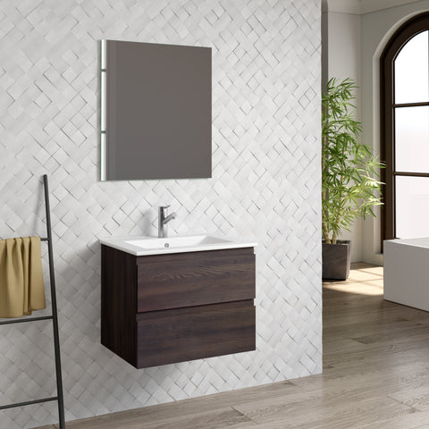 "DAX Pasadena vanity cabinet 24"", wenge with Onix basin (DAX-PAS012413-ONX)"