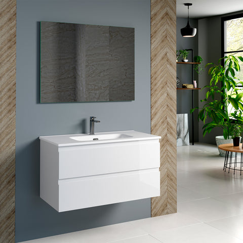 DAX Pasadena Single Vanity Cabinet 36 Inches Glossy White. Onix Ceramic basin included (DAX-PAS013611-ONX)
