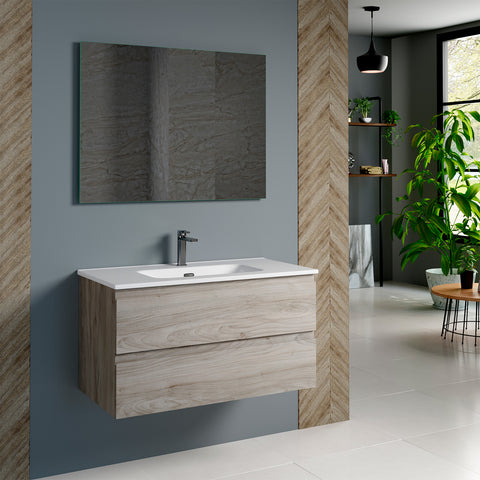 DAX Pasadena Single Vanity Cabinet 36 Inches Pine. Onix Ceramic basin included (DAX-PAS013612-ONX)