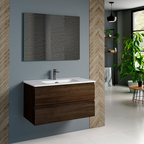DAX Pasadena Single Vanity Cabinet 36 Inches Wenge. Onix Ceramic basin included (DAX-PAS013613-ONX)