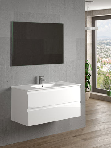 "DAX Pasadena vanity cabinet 40"", glossy white with Onix basin (DAX-PAS014011-ONX)"