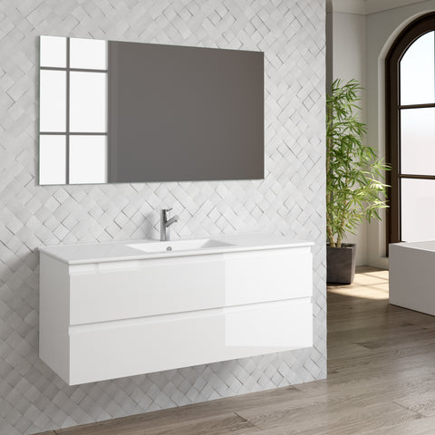 "DAX Pasadena vanity cabinet 48"", glossy white with Onix basin (DAX-PAS014811-ONX)"