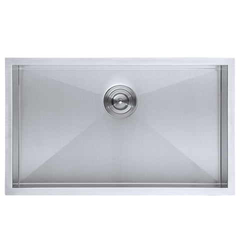 DAX Single Bowl Undermount Kitchen Sink, 16 Gauge Stainless Steel, Brushed Finish , 28 x 18 x 10 Inches (DAX-SQ-2818)