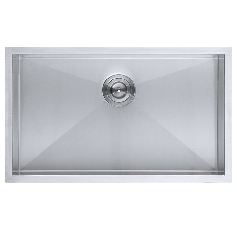 DAX Single Bowl Undermount Kitchen Sink, 18 Gauge Stainless Steel, Brushed Finish , 30 x 18 x 10 Inches (DAX-SQ-3018-X)