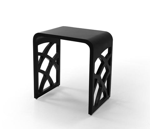 DAX Solid Surface Shower Stool - Matte Black (DAX-ST-05-B)