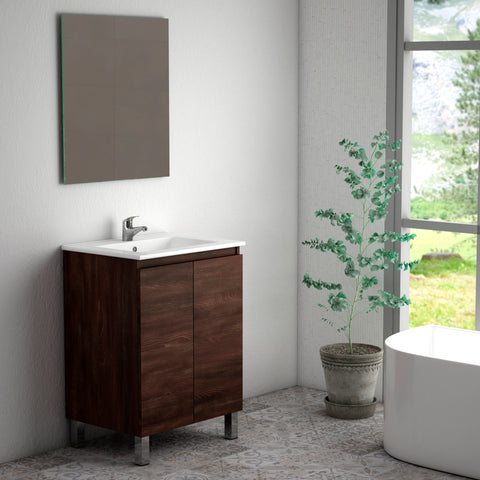 "DAX Sunset vanity cabinet 24"", wenge with Onix basin (DAX-SUN012413-ONX)"