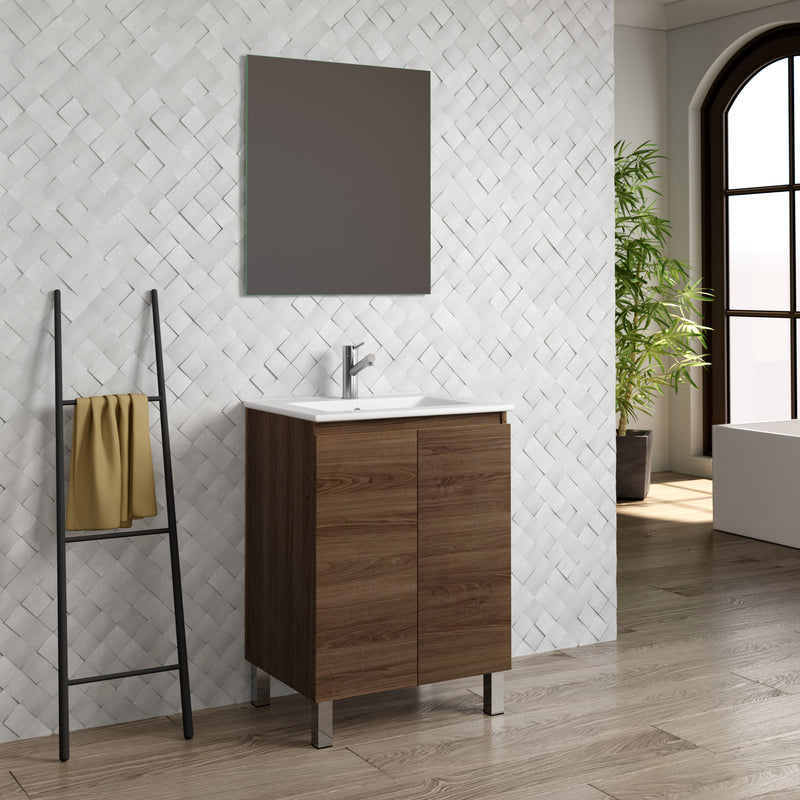 "DAX Sunset vanity cabinet 24"", walnut with Onix basin (DAX-SUN012415-ONX)"