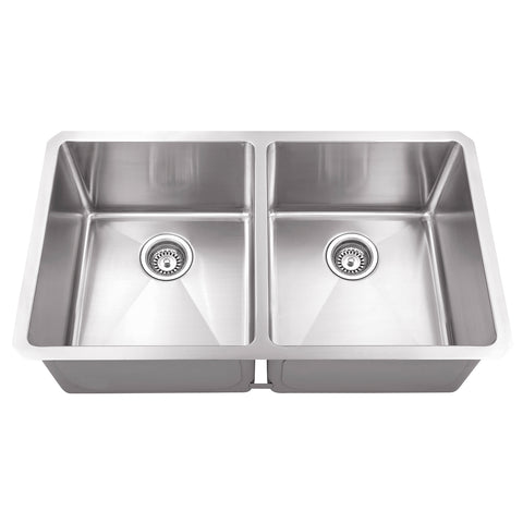 "DAX Double bowl Undermount kitchen sink. R10. 32"" x 18"" (DAX-T3218-R10)"
