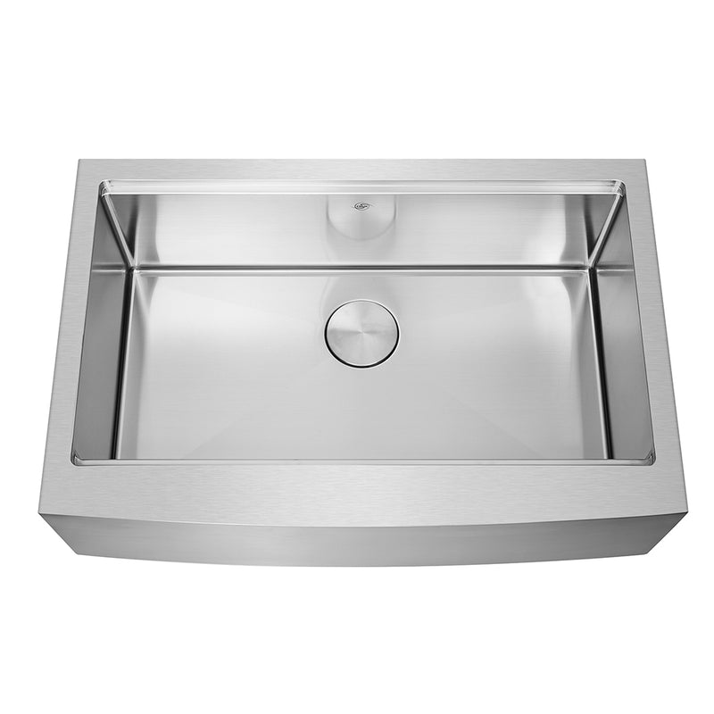 DAX Workstation Farmhouse Single Bowl Kitchen Sink - Handmade - Stainless Steel 304 -16 Gauge - Accessories Included (DAX-WS3321-R10