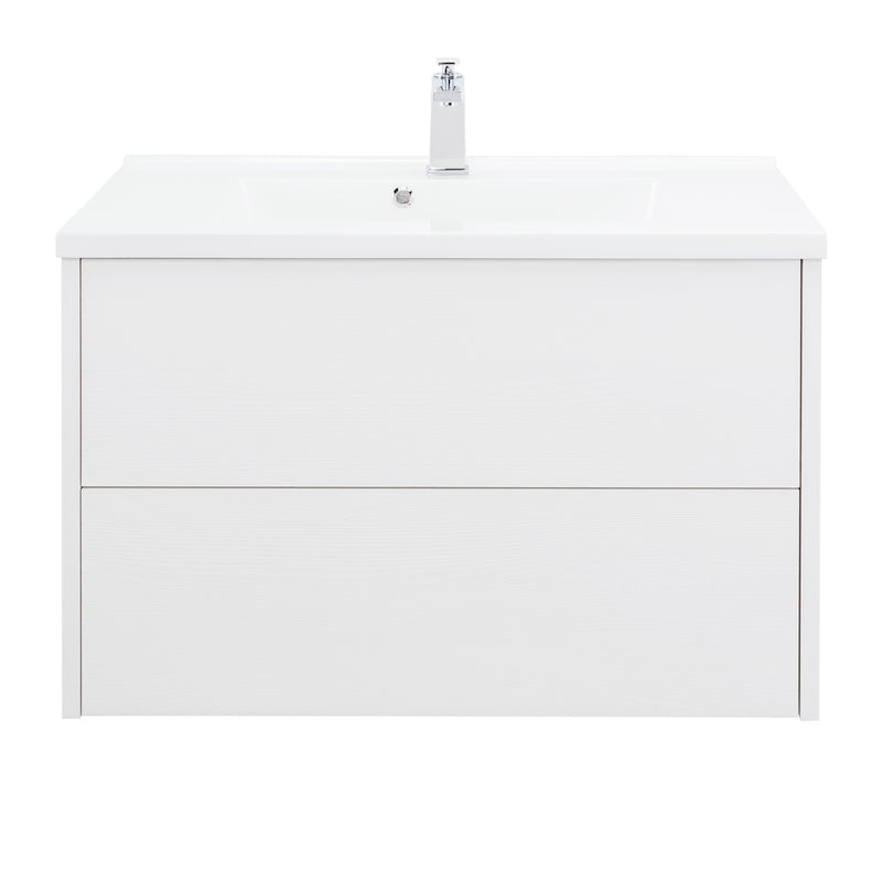 "32"" Single Vanity Cabinet, Wall Mount, 2 Drawers, White, ZEN Collection by DAX"