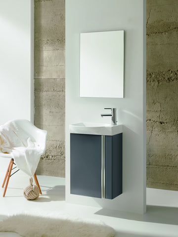 "18"" Single Vanity Cabinet Set, Wall Mount, 1 Door, Mirror and Basin, High Gloss Anthracite, Serie Elegance By ROYO"