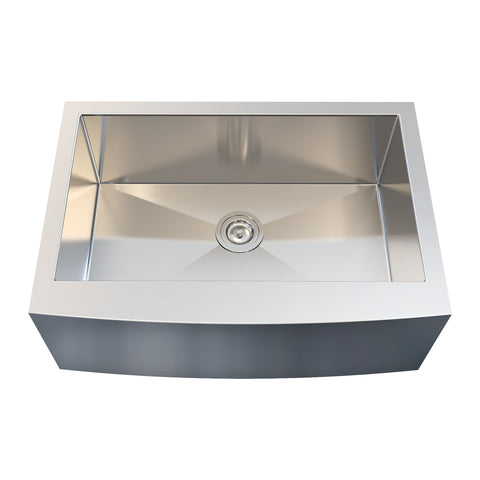 DAX Farmhouse Single Bowl Kitchen Sink, 18 Gauge Stainless Steel, Brushed Finish, 30 x 21 x 10 Inches (KA-3021R10)