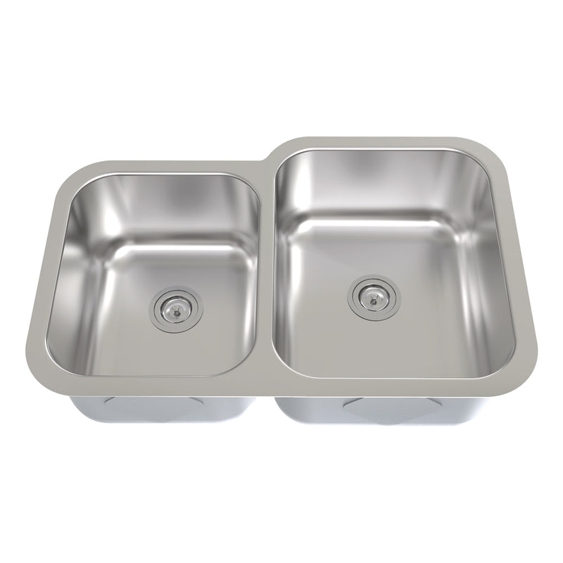 DAX 40/60 Double Bowl Undermount Kitchen Sink, 18 Gauge Stainless Steel, Brushed Finish, 31 x 20 x 9 Inches (KA-3120R)