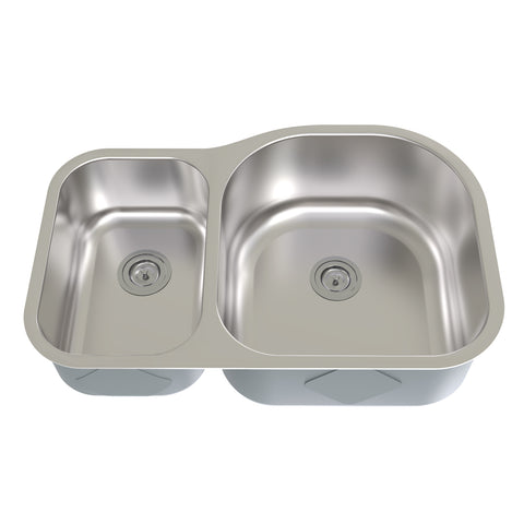 DAX 30/70 Double Bowl Undermount Kitchen Sink, 18 Gauge Stainless Steel, Brushed Finish, 31 x 21 x 8 Inches (KA-3121R)