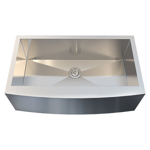 DAX Farmhouse Single Bowl Kitchen Sink, 18 Gauge Stainless Steel, Brushed Finish, 36 x 21 x 10 Inches (KA-3621R10)