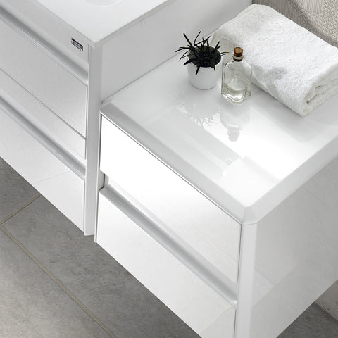 VALENZUELA Barcelona Small Bathroom Lower Side Cabinet, Wall Mount, 1 Drawer whit Soft Close, 16 Inches, White Finish (VBC004010M)