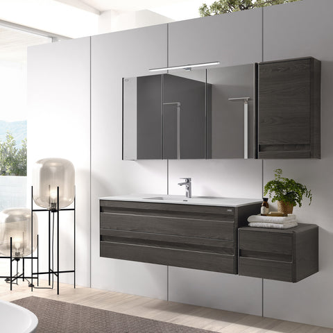 VALENZUELA Barcelona Small Bathroom Lower Side Cabinet, Wall Mount, 1 Drawer whit Soft Close, 16 Inches, Walnut Finish  (VBC004020M)