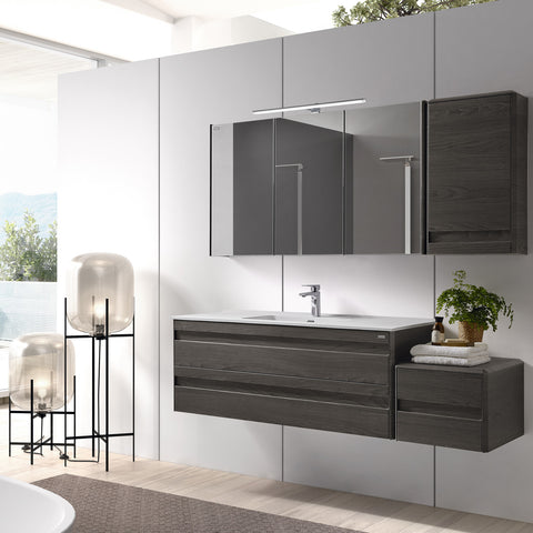 "48"" Single Vanity, Wall Mount, 2 Drawers with Soft Close, Walnut, Serie Barcelona by VALENZUELA"