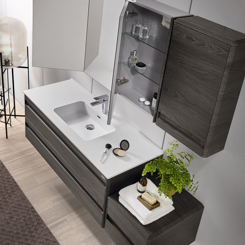 "32"" Single Vanity, Wall Mount, 2 Drawers with Soft Close, Walnut, Serie Barcelona by VALENZUELA"