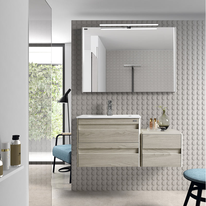 "28"" Single Vanity, Wall Mount, 2 Drawers with Soft Close, Cloud, Serie Barcelona by VALENZUELA"