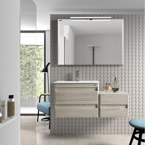 "32"" Single Vanity, Wall Mount, 2 Drawers with Soft Close, Cloud, Serie Barcelona by VALENZUELA"
