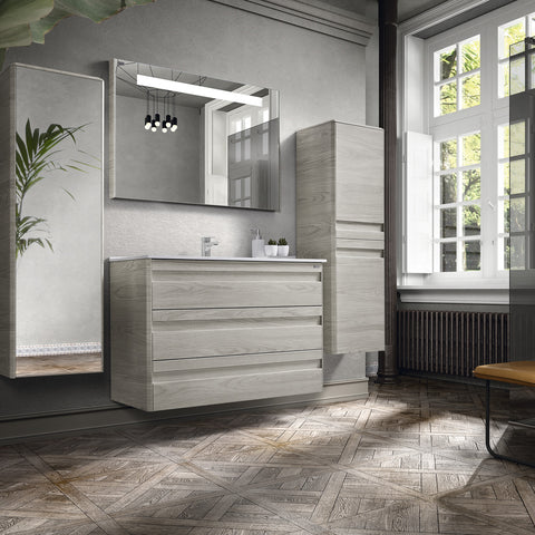 "32"" Single Vanity, Floor Mount, 3 Drawers with Soft Close, Cloud, Serie Barcelona by VALENZUELA"