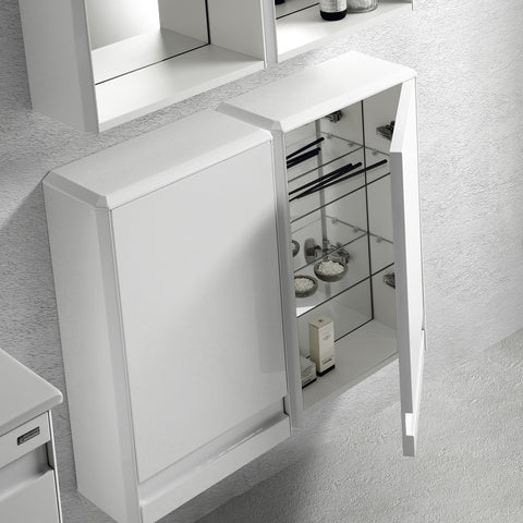 "16"" Small Side Cabinet, Wall Mount, 1 Door whit Soft Close and Left Opening, White, Serie Barcelona by VALENZUELA"