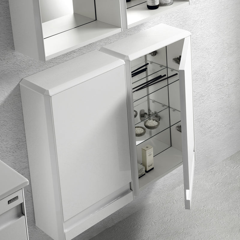 "16"" Small Side Cabinet, Wall Mount, 1 Door whit Soft Close and Right Opening, White, Serie Barcelona by VALENZUELA"