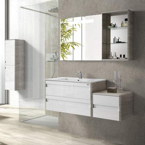 "16"" Open Side Cabinet with Shelves and Mirror, Wall Mount, Cloud, Serie Barcelona by VALENZUELA"