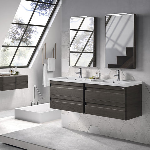 "48"" Double Vanity, Wall Mount, 4 Drawers with Soft Close, Walnut, Serie Barcelona by VALENZUELA"