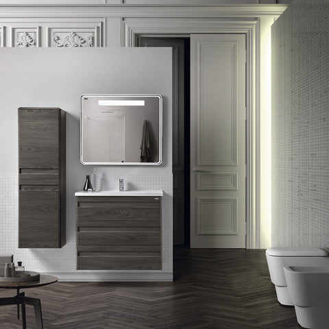 VALENZUELA Barcelona Tall Bathroom Side Cabinet, Wall Mount, 2 Door whit Soft Close and Left Opening, 16 Inches, Walnut Finish (VBC0130210)