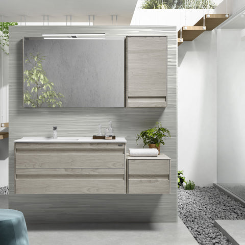 "40"" Single Vanity, Wall Mount, 2 Drawers with Soft Close, Cloud, Serie Barcelona by VALENZUELA"