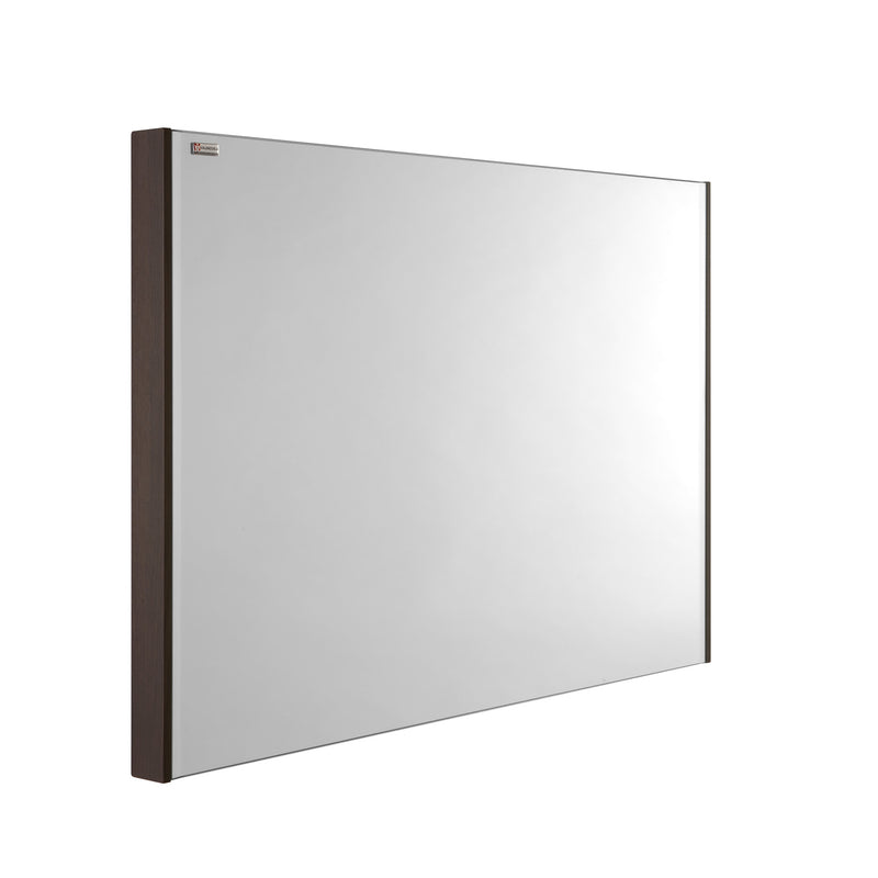"40"" Slim Frame Bathroom Vanity Mirror, Wall Mount, Walnut, Serie Barcelona by VALENZUELA"