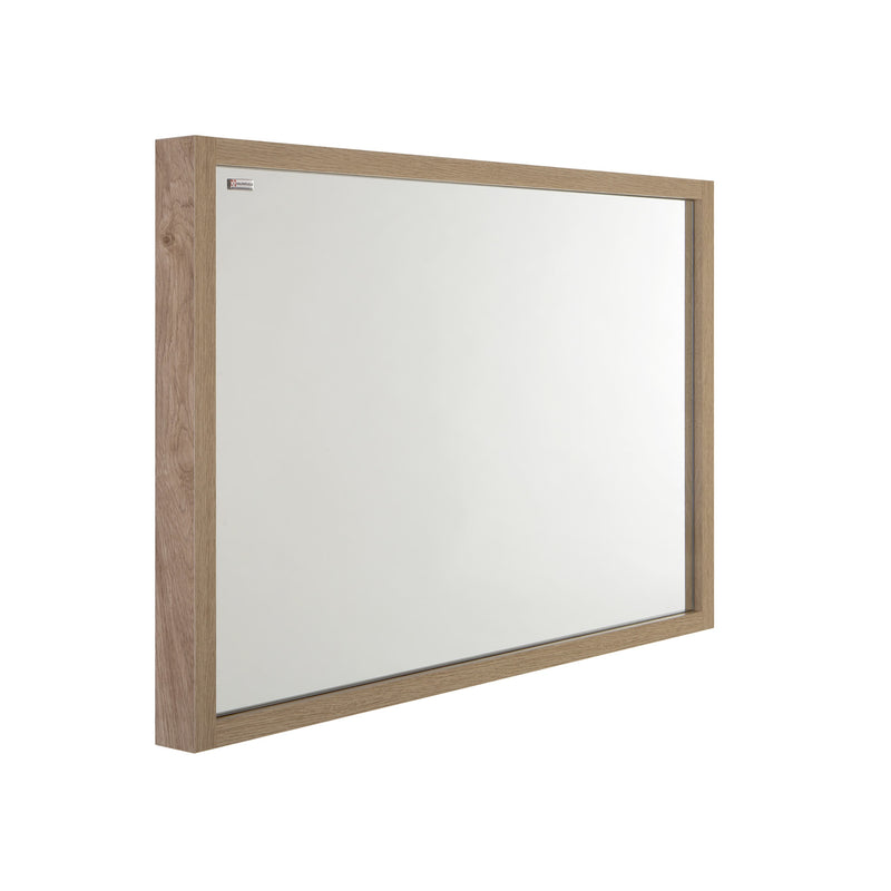 "32"" Slim Frame Bathroom Vanity Mirror, Wall Mount, Oak, Serie Tino by VALENZUELA"