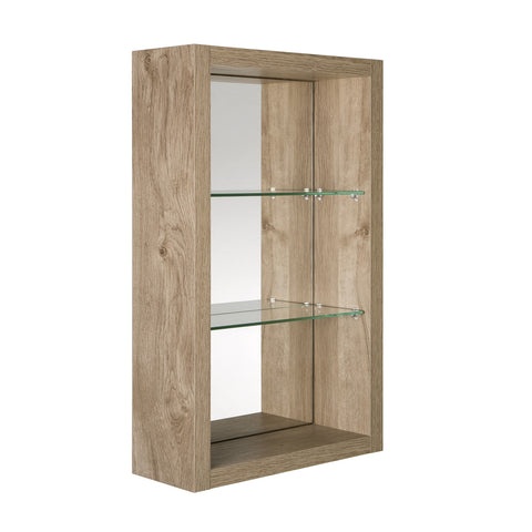 "16"" Open Side Cabinet with Shelves and Mirror, Wall Mount, Oak, Serie Tino by VALENZUELA"