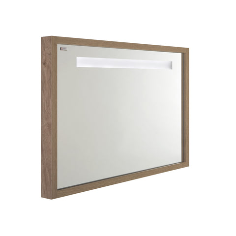 "48"" LED Backlit Bathroom Vanity Mirror, Wall Mount, Oak, Serie Tino by VALENZUELA"
