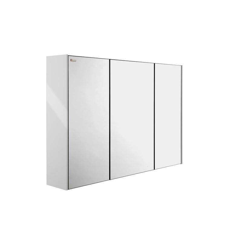 "48"" Medicine Cabinet Bathroom Vanity Mirror, Wall Mount, 3 Doors, White, Serie Dune/Solco by VALENZUELA"