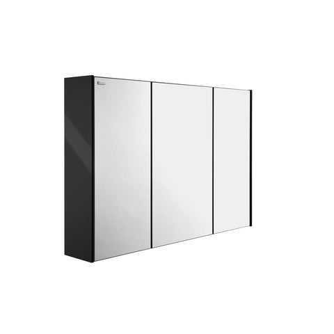 "48"" Medicine Cabinet Bathroom Vanity Mirror, Wall Mount, 3 Doors, Black, Serie Dune by VALENZUELA"