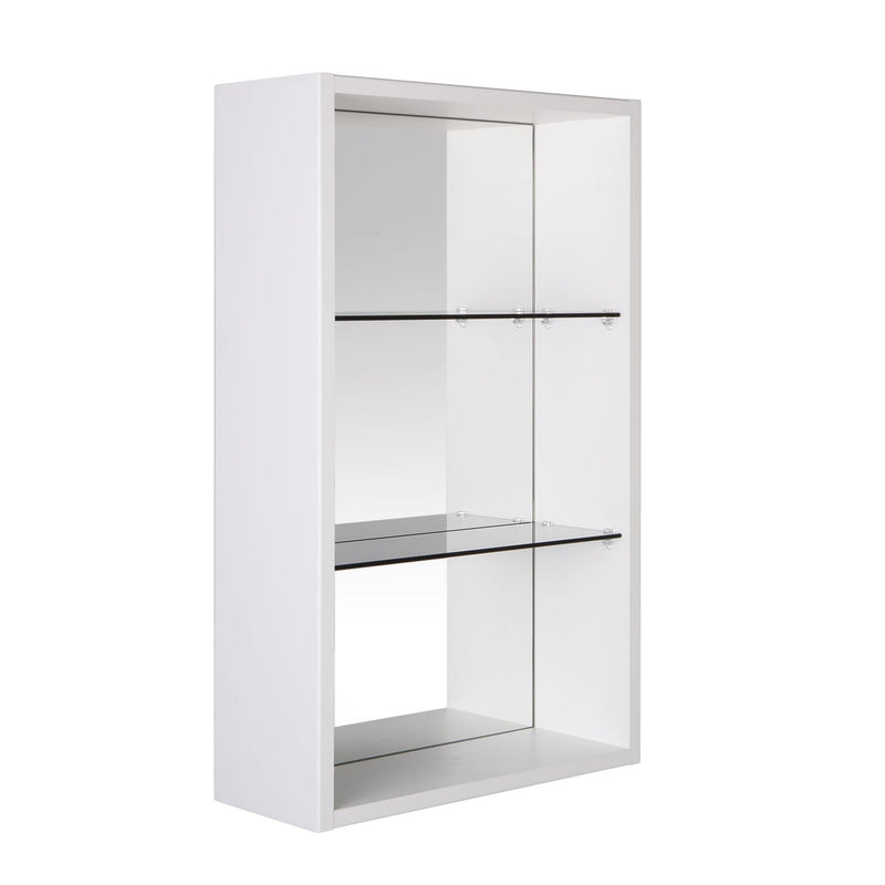 "16"" Open Side Cabinet with Shelves and Mirror, Wall Mount, White, Serie Class by VALENZUELA"