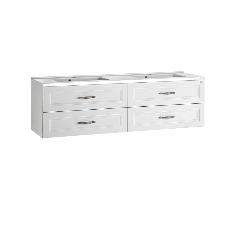 "48"" Double Vanity, Wall Mount, 4 Drawers with Soft Close, White, Serie Class by VALENZUELA"
